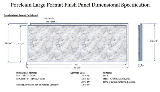 Flush Porcelain Panels up to 24x48