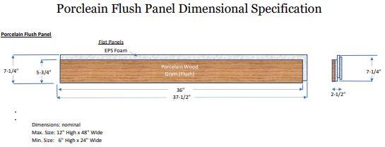 Flush Porcleain Wood Grain Panels Dimensional Specifications